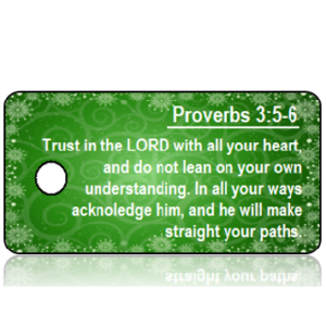 Proverbs 3 vs 5-6 - Green Background with Snowflakes