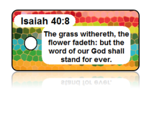 "EACH Sold in sets of (3), Minimum Order is (1) Set Quantity discounts are available. Bible Scripture Key Tag - Zephaniah 3:17 Add a personalized message to the back of your tags. Size: 1 1/8"" x 2 1/8"" Material: Durable PVC Plastic Features: High Definition Print Pre-punched Circular Hole Not exactly what you were looking for? Click Create Design! (Ordered in multiples of 3)"