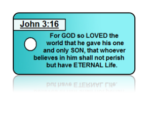 John 3:16 Bible Scripture Teal Key Tags