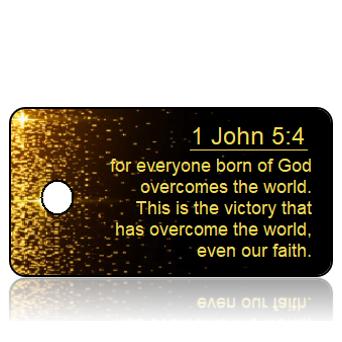 ScriptureTagD59 - NIV - 1 John 5 vs 4 - Black with Gold Silver Sparkles