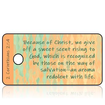 ScriptureTagE14 - 2 Corinthians 2 vs 14 - Peach Teal Bubble Waves