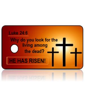 Luke 24 vs 6 - Crosses on Orange Background