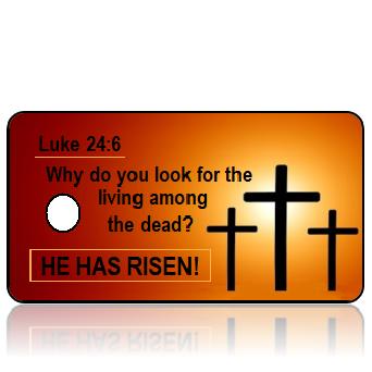 ScriptureTagE16 - Luke 24 vs 6 - Crosses on Orange Background