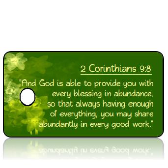 ScriptureTagE17 - 2 Corinthians 9 vs 8 - Daffodils Green Background