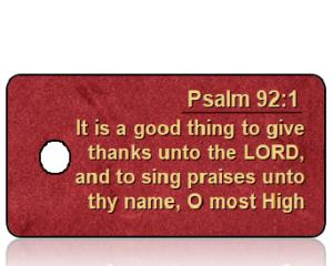 Psalm 92 vs 1 - KJV - Red Velvet Background
