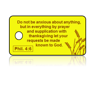 Philippians 4:6 Holiday Scripture Yellow Key Tags