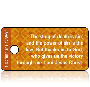 ScriptureTagT20 - 1 Corinthians 16 vs 56-57 - Orange and Gold Diamonds