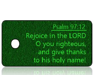 ScriptureTagT3 - Psalm 97 vs 12 - ESV - Green Textured Fabric