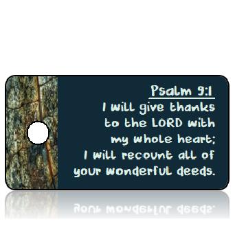 ScriptureTagT4 - Psalm 9 vs 1 - ESV - Fall Blue Brown Leaf Border
