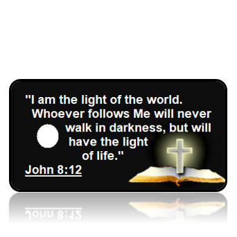 ScriptureTagA49 - KJV - John 8 vs 12 - Bible Cross Black Background