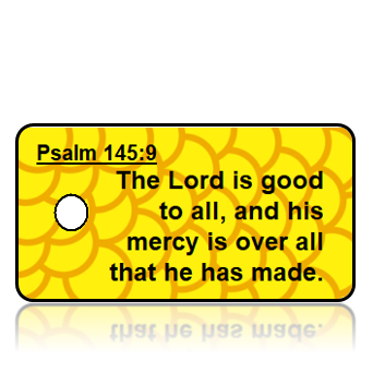 ScriptureTagA55- ESV - Psalm 145 vs 9 - Yellow Modern Pattern Background