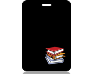 Create Design Bag Tag Education Books on Black Background