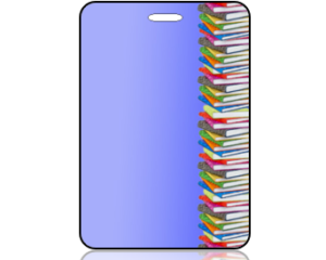 Create Design Bag Tag Education Books on Blue Background