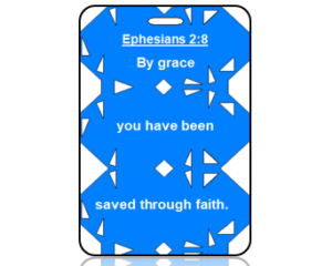 Ephesians 2:8 Bible Scripture Bag Tag