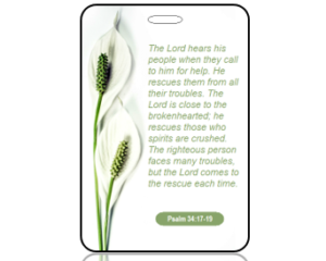 Psalm 34:17-19 Bible Scripture Bag Tag