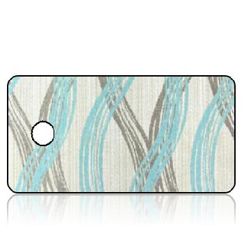 Create Design Key Tags Aqua Taupe Wave Stripes