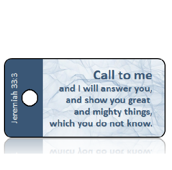 Jeremiah 33:3 Bible Scripture Sheer Blue Cloth Key Tags