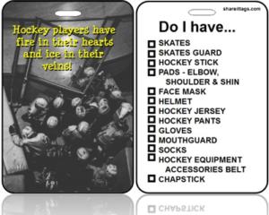 BagTag31 - Sports Bag Tag - Hockey Team Quote Checklist