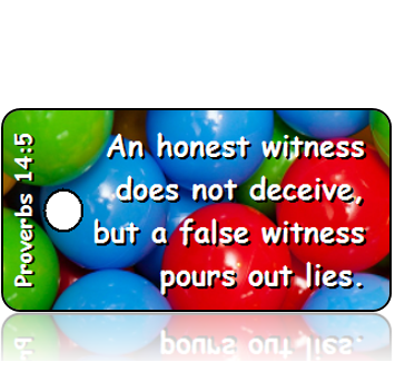 ScriptureTagD141 - NIV - Proverbs 14 vs 5 - Primary Color Balls