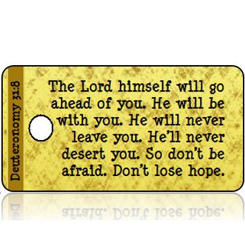 ScriptureTagD154 - NIRV - Deuteronomy 31 vs 8 - Gold Foil Paper