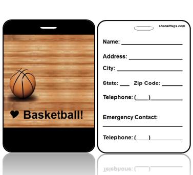 BagTag05-CI - I Love Basketbll Bag Tag - Contact Info