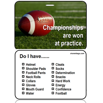 BagTag16-CH - Football - Champtionships Won at Practice - Checklist