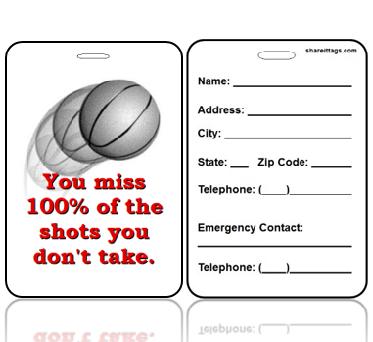 BagTag23-CI - Basketball Shots You Miss 100% - Contact Info