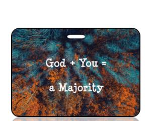 God + You = a Majority Bag Tag - Autumn Treetops Background