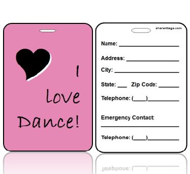 BagTagL01-CI - I Love to Dance Bag Tag - Contact Info