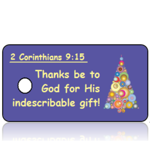 2 Corinthians 9 vs 15 - Modern Christmas Tree Scripture Key Tag