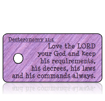 ScriptureTagD165 - Deuteronomy 11 vs 1 - NIV - Purple Textured Fabric