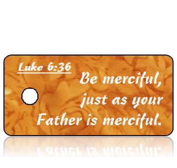 ScriptureTagD166 - Luke 6 vs 36 - Orange Brown Watercolor Leaves