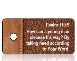 Psalm 119 vs 9 Brown Leather Binder Scripture Tag